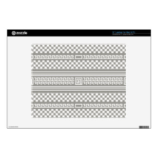 """Gray And White Houndstooth With Spirals 12"""" Laptop Decal"""