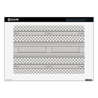 Gray And White Houndstooth With Spirals Samsung Chromebook Skin