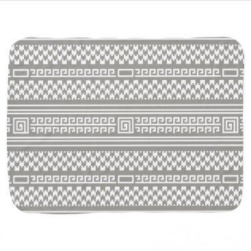Aztec Themed Gray And White Houndstooth With Spirals Stroller Blanket