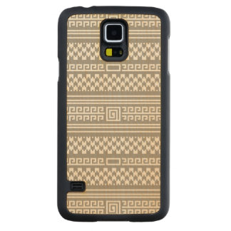 Gray And White Houndstooth With Spirals Carved® Maple Galaxy S5 Slim Case