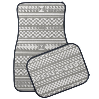 Gray And White Houndstooth With Spirals Car Mat