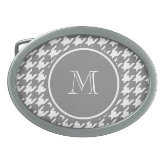 Gray and White Houndstooth Your Monogram Oval Belt Buckles