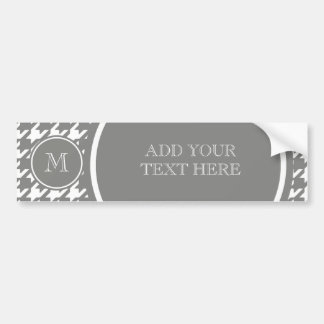 Gray and White Houndstooth Your Monogram Bumper Sticker