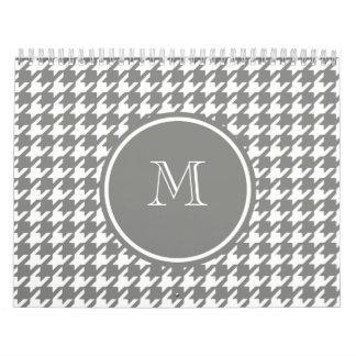 Gray and White Houndstooth Your Monogram Calendar