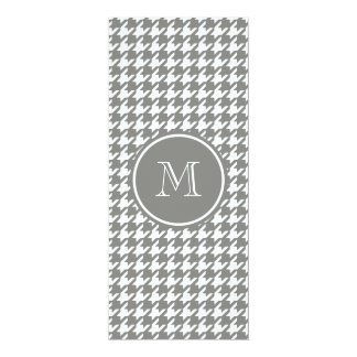"""Gray and White Houndstooth Your Monogram 4"""" X 9.25"""" Invitation Card"""