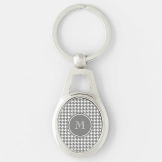 Gray and White Houndstooth Your Monogram Keychain