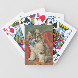 Gray and White Kitten playing cards