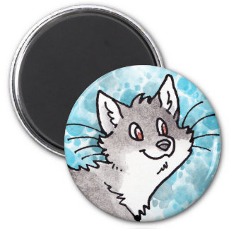 Gray and White Kitty 2 Inch Round Magnet