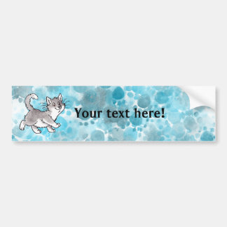 Gray and White Kitty Bumper Sticker