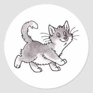 Gray and White Kitty Classic Round Sticker