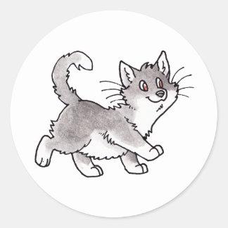 Gray and White Kitty Classic Round Sticker