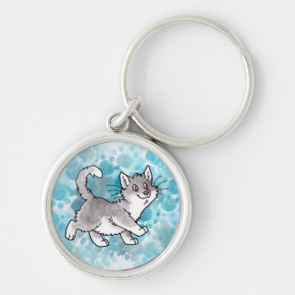 Gray and White Kitty Key Chain