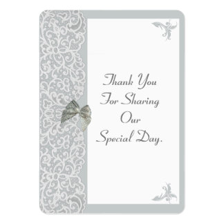Gray and white lace wedding thank you tag large business cards (Pack of 100)