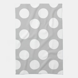 Gray and White Large Polka Dot Kitchen Towel
