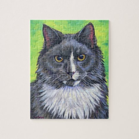 Gray and White Long Haired Tuxedo Cat Puzzle