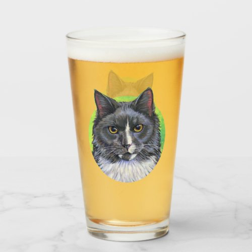 Gray and White Longhair Cat Drinking Glass Cup