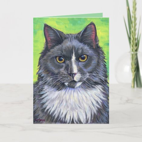 Gray and White Longhair Cat Greeting Card