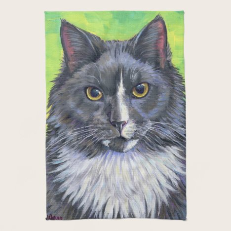 Gray and White Longhair Cat Kitchen Towels