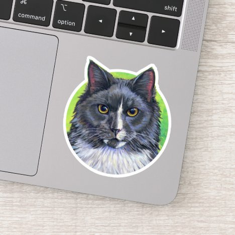 Gray and White Longhair Tuxedo Cat Vinyl Sticker