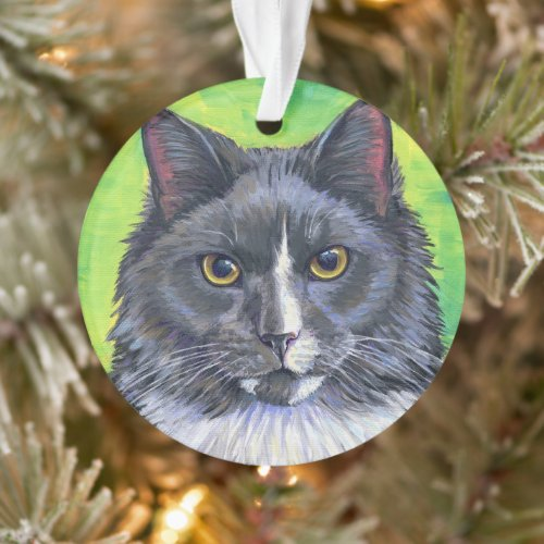 Gray and White Longhaired Cat Acrylic Ornament