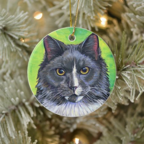 Gray and White Longhaired Cat Ceramic Ornament