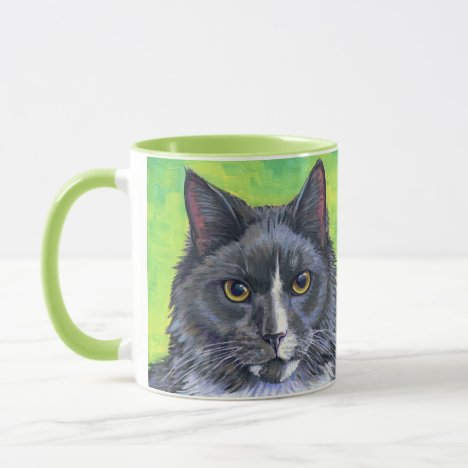 Gray and White Longhaired Cat Coffee Mug