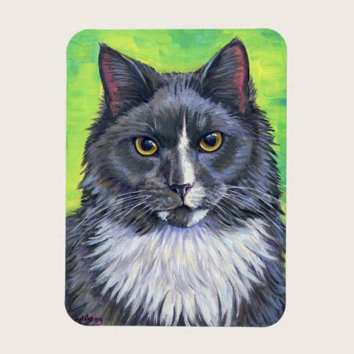 Gray and White Longhaired Cat Flexible Magnet