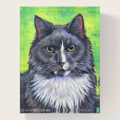 Gray and White Longhaired Cat Paperweight