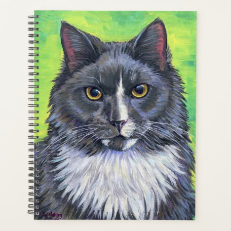 Gray and White Longhaired Cat Planner