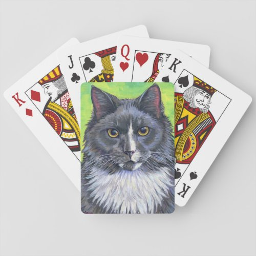 Gray and White Longhaired Cat Playing Cards