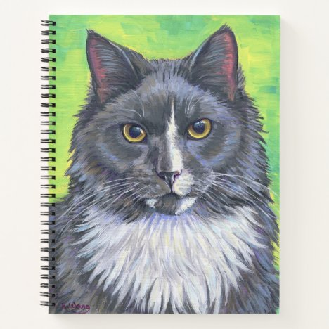 Gray and White Longhaired Cat Spiral Notebook