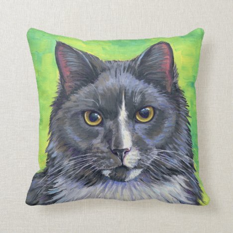 Gray and White Longhaired Cat Throw Pillow