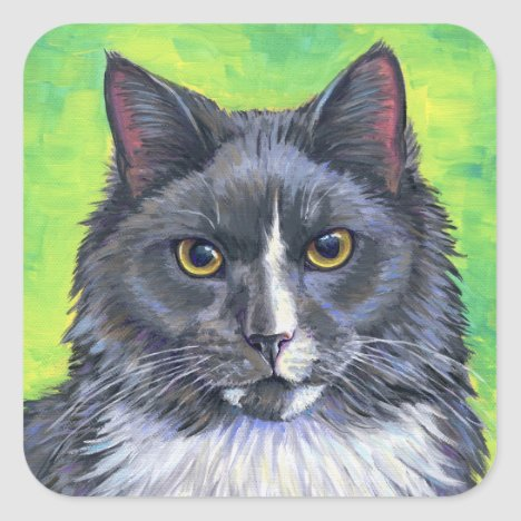 Gray and White Maine Coon Cat Stickers
