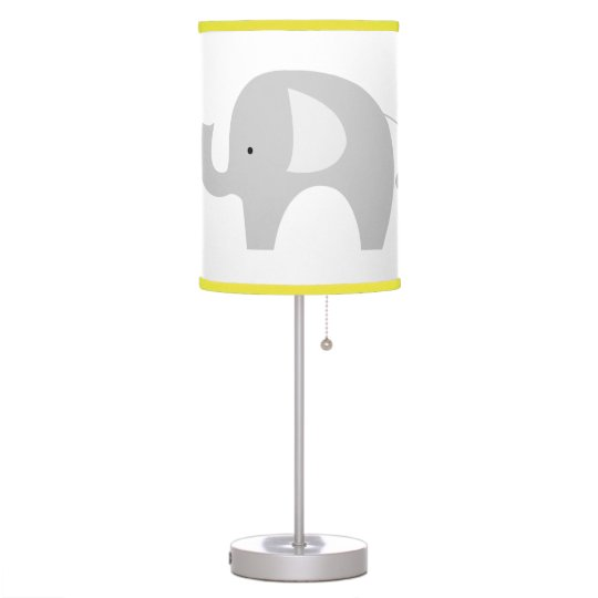 Gray And White Mod Elephant Nursery Lamp Yellow
