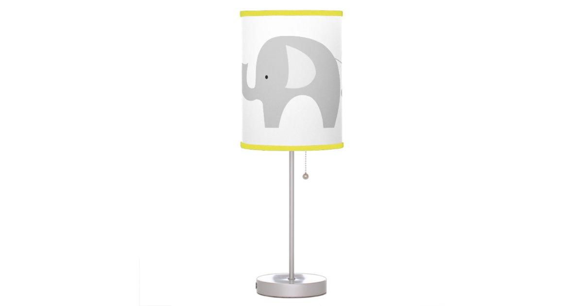 White Mod Elephant Nursery Lamp Yellow