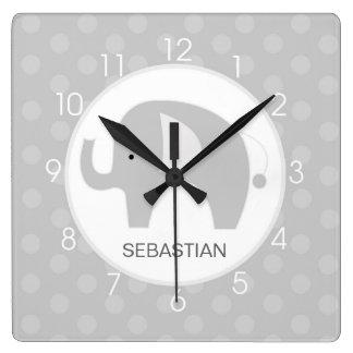 Gray and White Mod Elephant Wall Clock Wallclocks