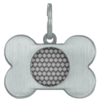 Gray and White Modern Decorative Links Pet ID Tag