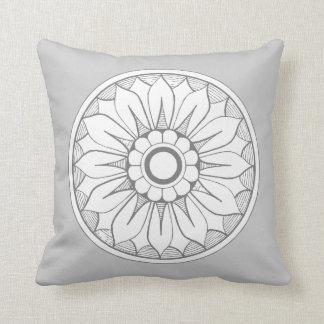 Gray and White Modern Medallion Pattern Throw Pillow
