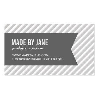 Gray and White Modern Stripes Social Media Business Card