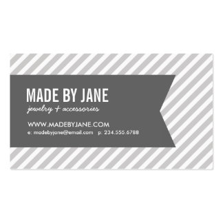 Gray and White Modern Stripes Social Media Double-Sided Standard Business Cards (Pack Of 100)