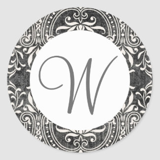 GRAY and WHITE  Monogram Faded Damask Wedding V18 Classic Round Sticker