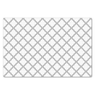 "Gray and White Moroccan Quatrefoil Pattern 10"" X 15"" Tissue Paper"