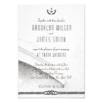 Gray And White Nautical Wedding Invitations