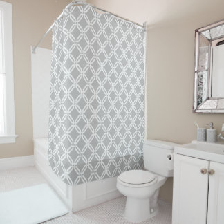 Gray and White Octagon Link Lattice Pattern Shower Curtain