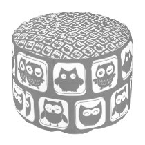 Gray and White Owl Pattern Pouf
