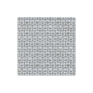 Gray and White Owl Pattern Stone Magnet