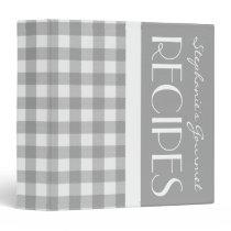 Gray and White Plaid Recipe Binder