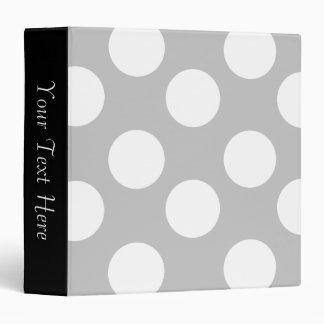 Gray and White Polka Dot 3-Ring Binder