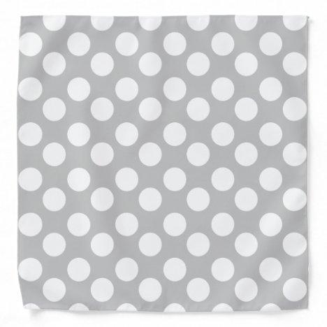 Gray and White Polka Dot Bandana