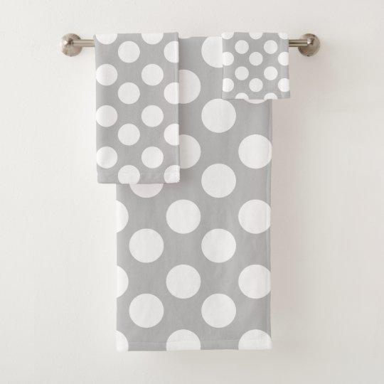 Gray And White Polka Dot Bath Towel Set Zazzlecom